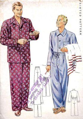 Pánské pyžamo, zdroj Pinterest etsy